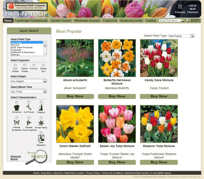 Website visitors can quickly find the plant they looking for with this easy to use plant search.