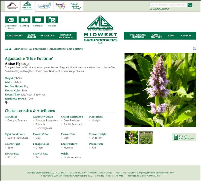 Plant detail page