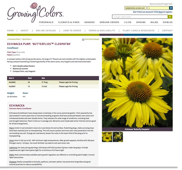 If wholesale customer is logged in, they can purchase from the GrowingColors.com plant detail page.