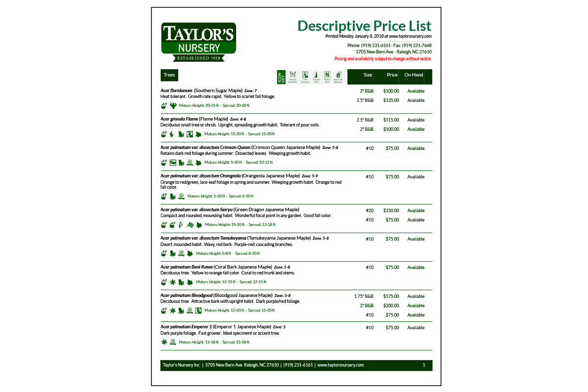 Descriptive Price List - No photos