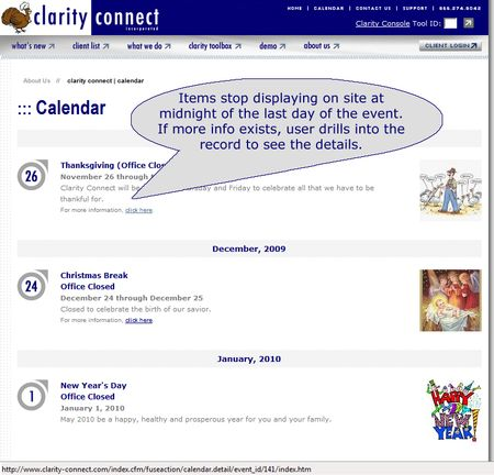 Calendar summary page displays critical event information. Clicking on the event record opens the corresponding detailed page, if one existis. See next image as an example.