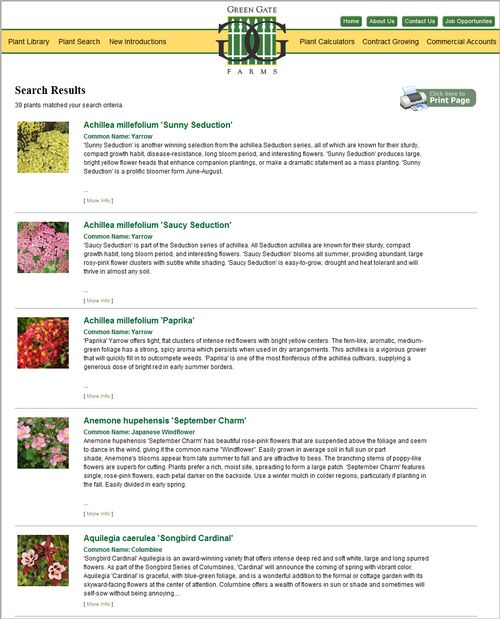 There were 39 plants that matched the search criteria entered. User can print the list or click on any of the plant records to see plant details. The next image displays the full plant profile for Achillea millefolium 'Paprika'.
