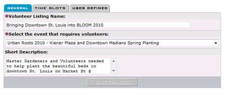 List the volunteer opportunity name, associate it to an event and then describe the opportunity.
