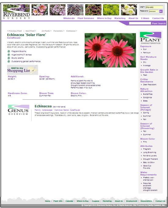 The Genus Overview information for Riverbend is for the consumer or home-gardener.