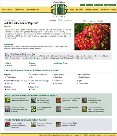 The user of the plant picker can review the details of plants that meet their search requirements.