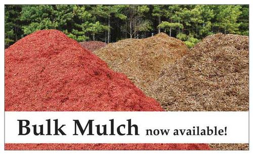 We have a standard 2' x 3' and 1' x 4' version of Bulk Mulch, but Adam's Nursery South Carolina wanted a larger banner, so we created this 5' x 3' banner by combining photos of large mulch piles and trees for the background.